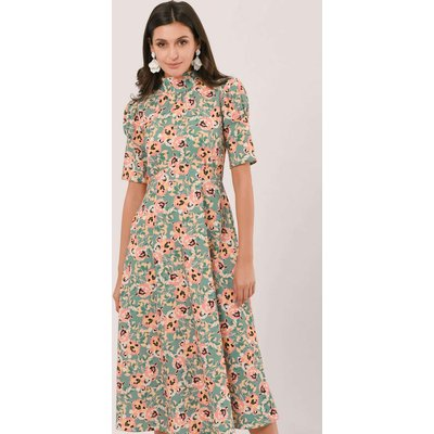Closet London Apricot Floral High Neck Midi Dress