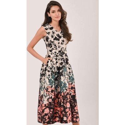 Closet GOLD Peach & Cream Floral Midi Dress