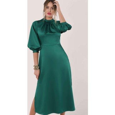 Closet London Green Gathered Neck A-Line Midi Dress