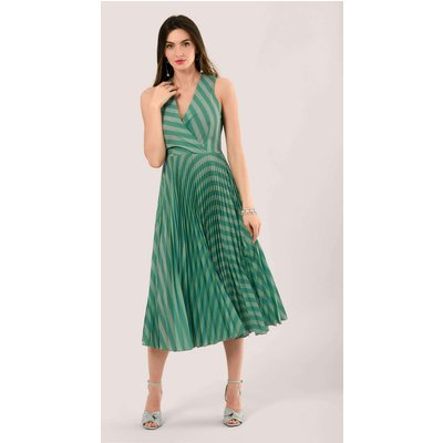 Closet London Teal Stripe Sleeveless Pleated Wrap Dress