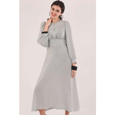 Closet London White Puff Sleeve Polka Dot Midi Dress