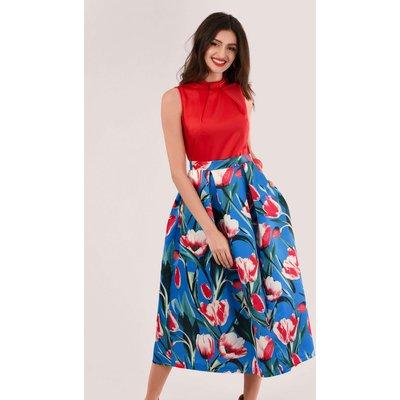 Closet Gold Red Collar Full Skirt Dress