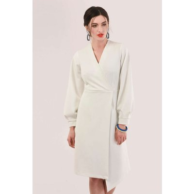 Closet London Ivory Long Sleeve Wrap Dress