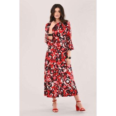 Red A-Line Midi Dress