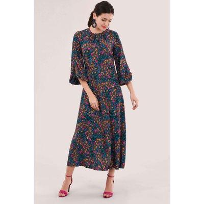 Closet London Blue Split Sleeve Detail Print Dress