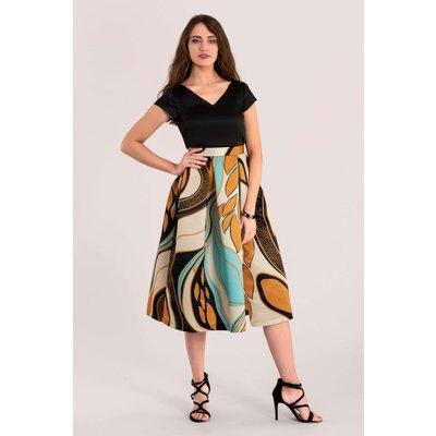 Closet Gold Mustard Full Skirt V-Neck Dress