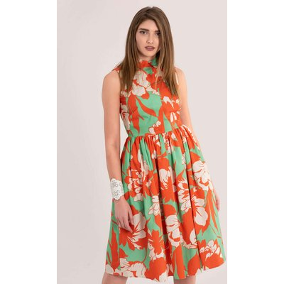 Orange Sleeveless Gathered Shirt Dress