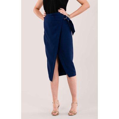 Navy D-Ring Pencil Skirt
