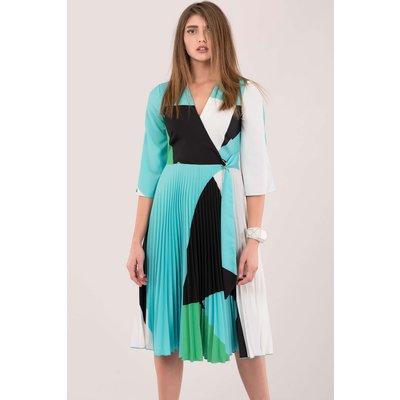 Blue Wrap Pleated Dress