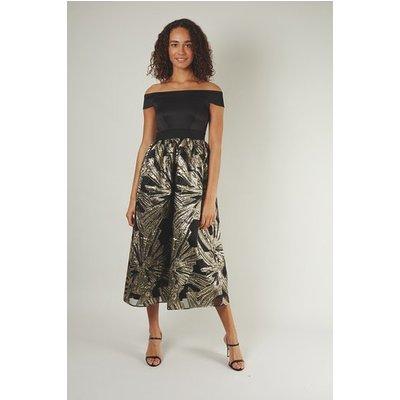 Black Bardot Full Skirt Dress