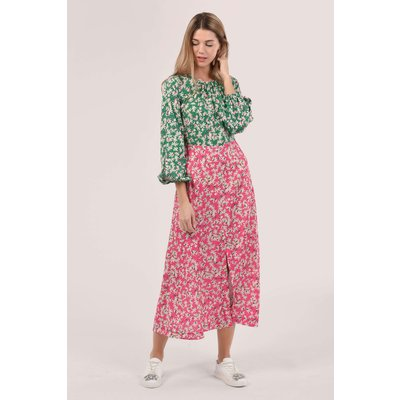 Pink Gathered Neck A-Line Dress