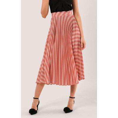 Peach Stripe Pleated Midi Skirt