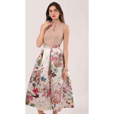 Closet GOLD Peach Floral 2 in 1 Evening Dress