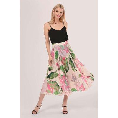 Pink Floral Pleated Midi Skirt