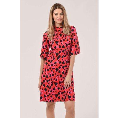 Closet London Red Heart Print A-Line Dress