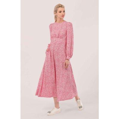 Closet London Pink Puff Sleeve Sweetheart Neckline A-line Dress
