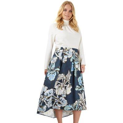 Closet Curves Multi Ivory Print Pleated Hi Low Skirt