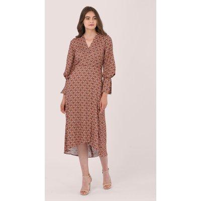 Blush Wrap Dress With Full Sleeve