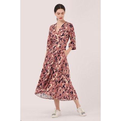 Pink High-Low Wrap Dress