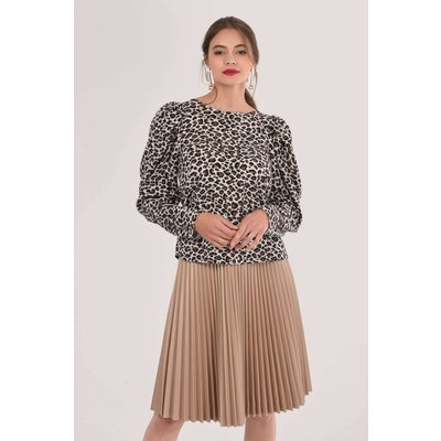 Brown Pleated Sleeve Blouse