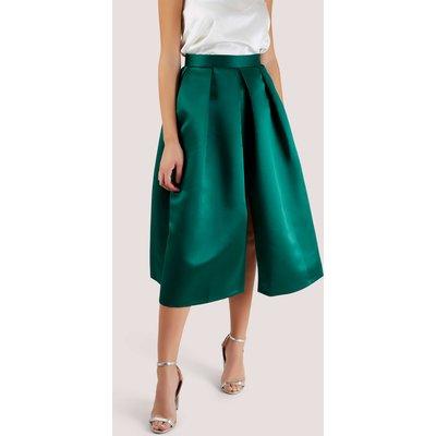 Closet Pleated Midi Skirt   GREEN