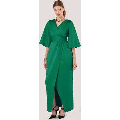 Closet Gold Green Maxi Ties Wrap Dress
