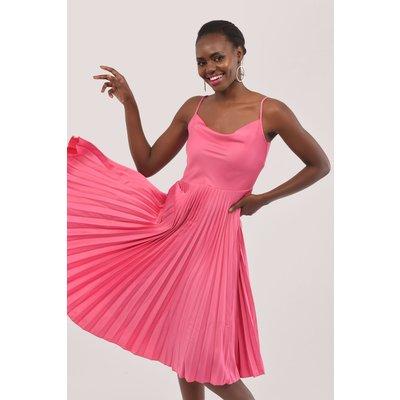 Closet Gold Pink Cowl Neck Pleated Dress