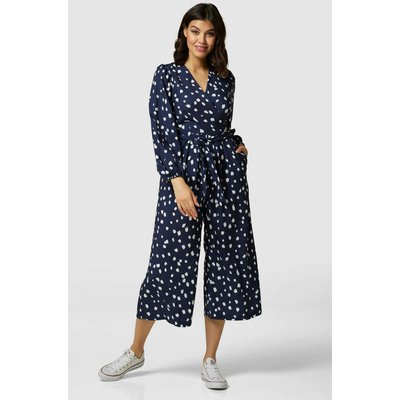 Closet London Navy Blue Wrap Wide Leg Print Jumpsuit