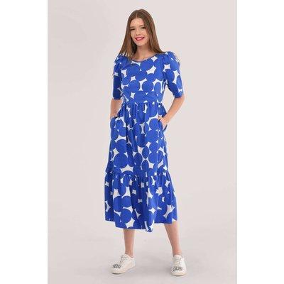 Closet London Blue Gathered Puff Sleeve Dress
