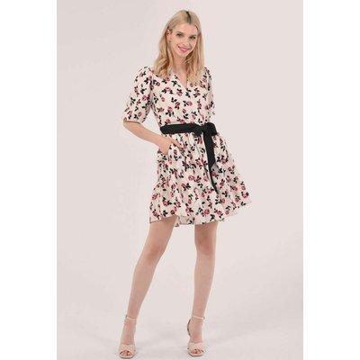 Closet London Pink Floral Wrap Gathered Skirt Dress