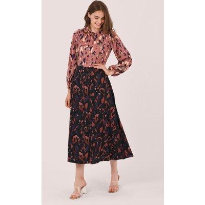 Closet London Pink Print Gathered Neck A-Line Dress