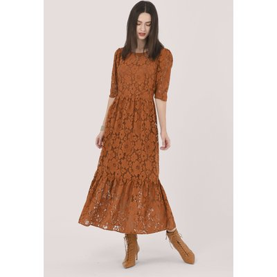 Brown Gathered Puff Sleeve Midi Dress