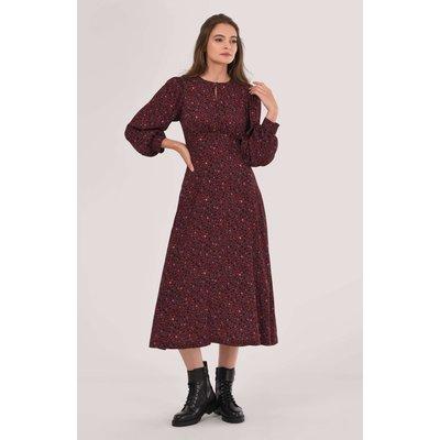 Burgundy Puff Sleeve A-line Dress