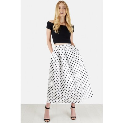 White Pleated Polka Midi Skirt