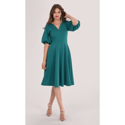 Closet London Green Full Circle Skirt Dress