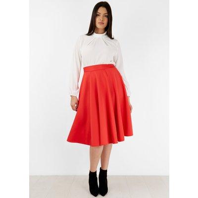 Red Panel Midi Skirt