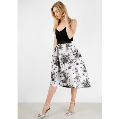 Monochrome Floral Midi Skirt