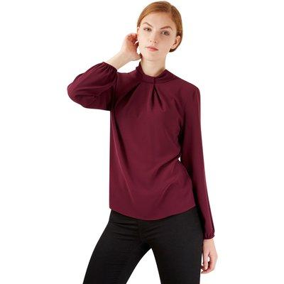 Closet London Purple  Long sleeve Bow Blouse