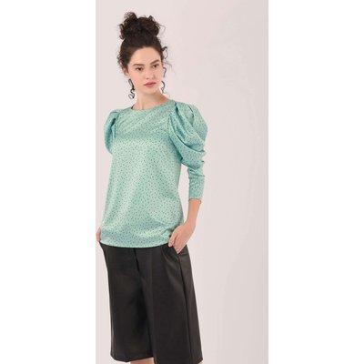 Closet London Green Pleated Sleeve Blouse