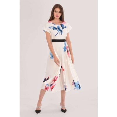 Ivory 2-In-1 Pleated Midi Dress