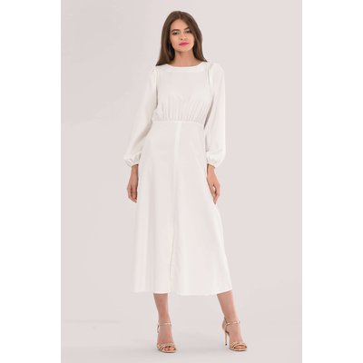Ivory Gathered Waist A-line Dress