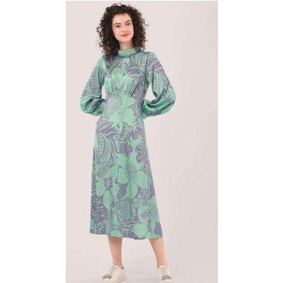 Closet London Green Floral Print Roll Neck Puff Sleeve Dress
