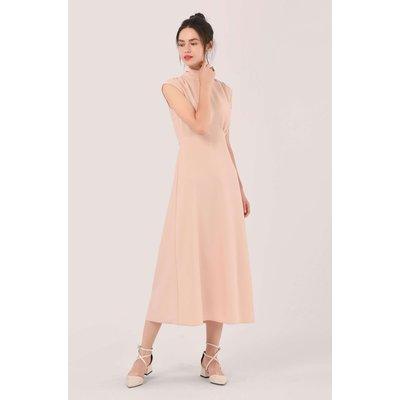 Blush Pink High Neck Midi A-line Dress
