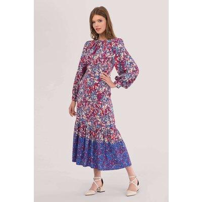 Closet London Purple Gathered Neck A-Line Print Dress
