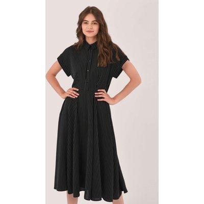 Black Full Skirt Shirt Dress