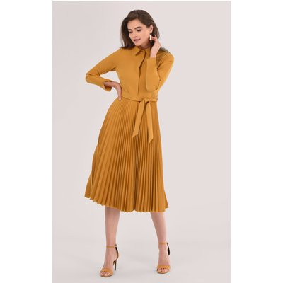 Rust Pleated Shirt Dress