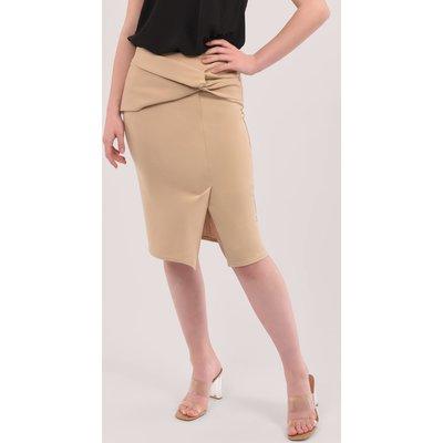 Closet London Beige Twist Pencil Skirt