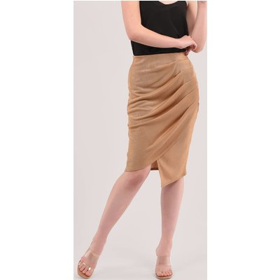 Brown Pleated Wrap Pencil Skirt