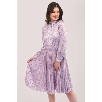 Purple Pleated Shirt Dress