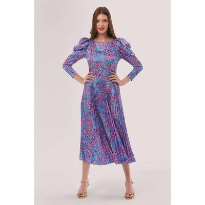Closet London Pink Print Pleated Dress